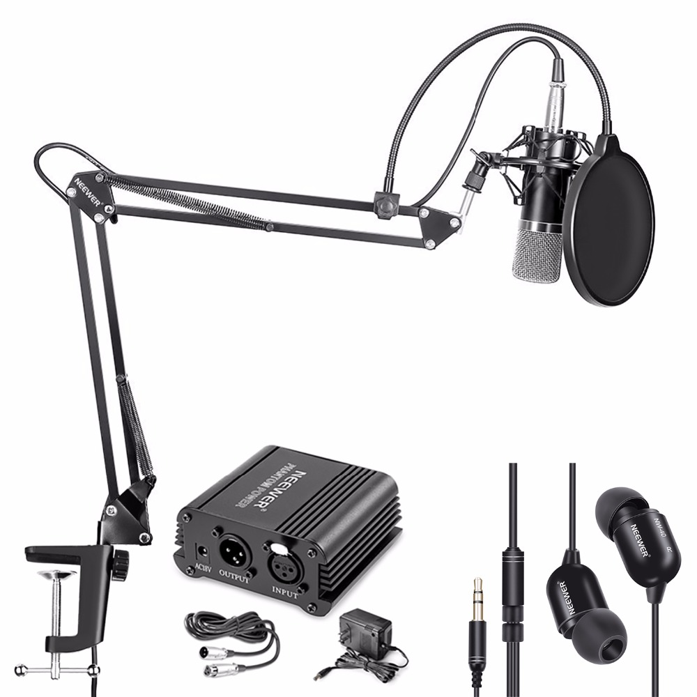 Neewer NW-700 Condenser Microphone and Monitor Earphone Kit neewer nw 700 condenser microphone