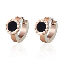 Top Quality Elegant And Charming White Shell And Black Enamel Roman Numerals Hoop Earrings For Women And Girls Jewelry