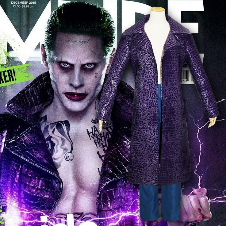 Suicide Squad Harley Quinn Batman Joker Uniform Cosplay Costume Purple Long Trench Coat Jacket Halloween Costumes Size S-XL
