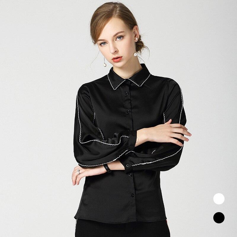 Nouveau 2018 aurumn revers manches bouffantes chemises noires femmes Chic à manches longues lâche Blouses hauts D344 - 2