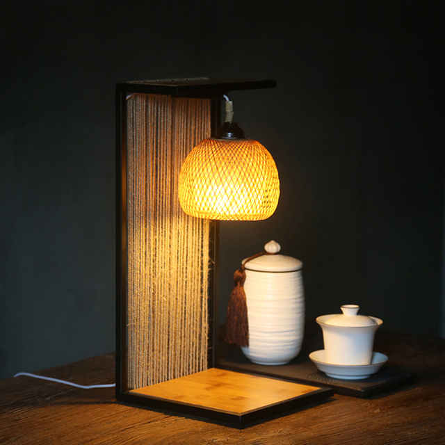 110 240V Japanese Antique Woven Bamboo Table Lamp Living Room Restaurant  Handmade Desk Lighting E27