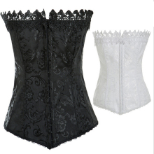 NEW black white lace edge wedding underbust Sexy Waist Workout Cincher Body Shaper Shapewear Corset S-XXL 0895 for Women girl
