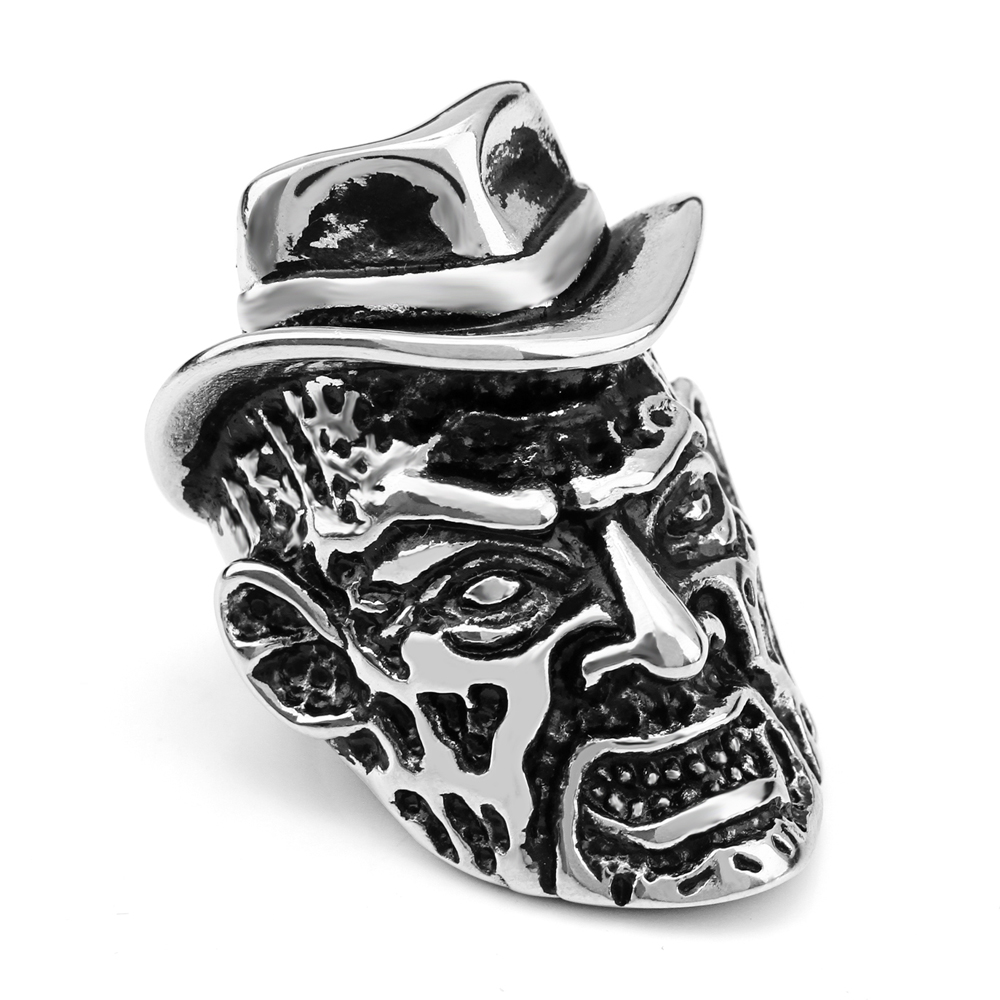 (12 pcs/lot) Mimeng Wear Hat Skull Ring Stainless Steel Rings Jack Punk Style Ring Mens Ring
