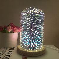 Bedside LED Glass Tree Flower Stars Shaped Wooden Base Night Light USB Power Desk Book Lamp