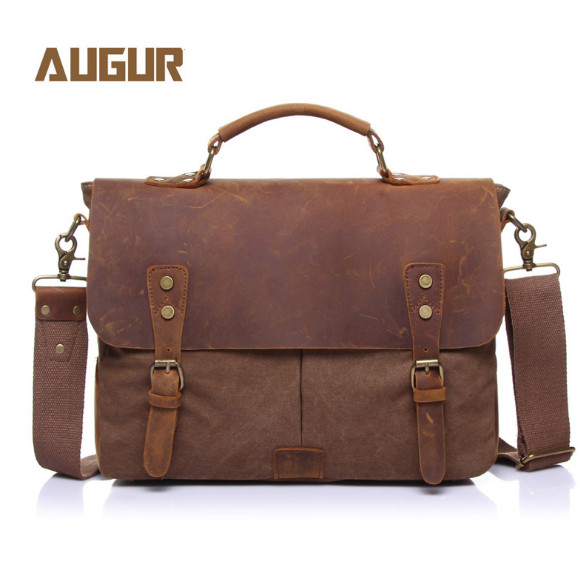 Vintage casual men s portable briefcase canvas postman bag Messenger bag with crazy horse leather 14