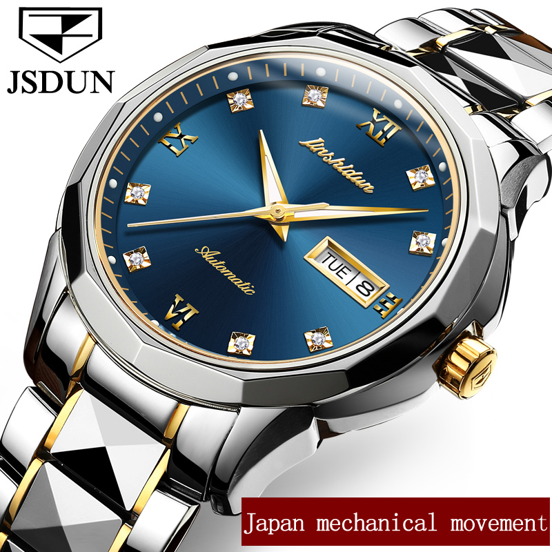 JSDUN Mens Watches Top Brand Luxury Automatic Mechanical Watch Men Full Steel Waterproof Sport Watches Relogio Masculin mce top brand mens watches automatic men watch luxury stainless steel wristwatches male clock montre with box 335