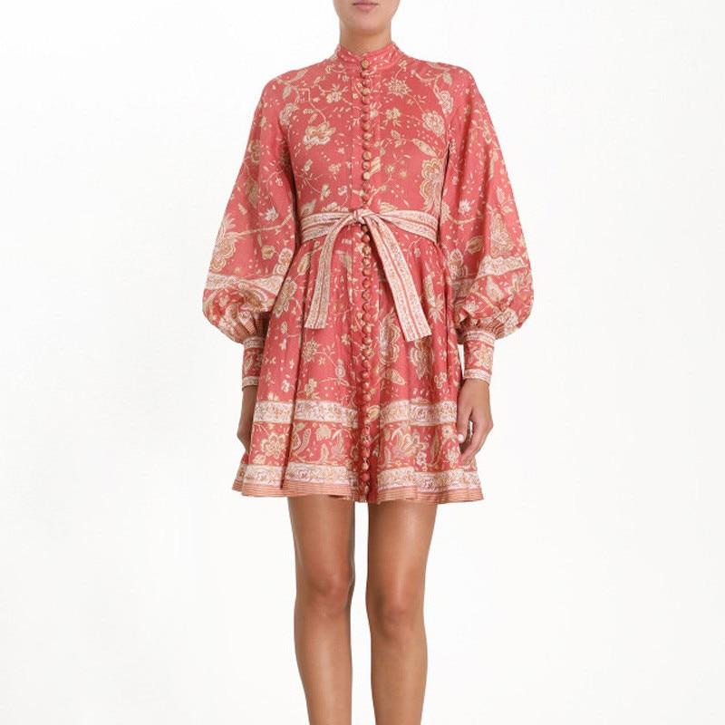 Automne robe nouvelle mode 2019 femmes lin Stand lanterne à manches longues chemise robe Floral imprimé bouton élégant ceinture Mini robe