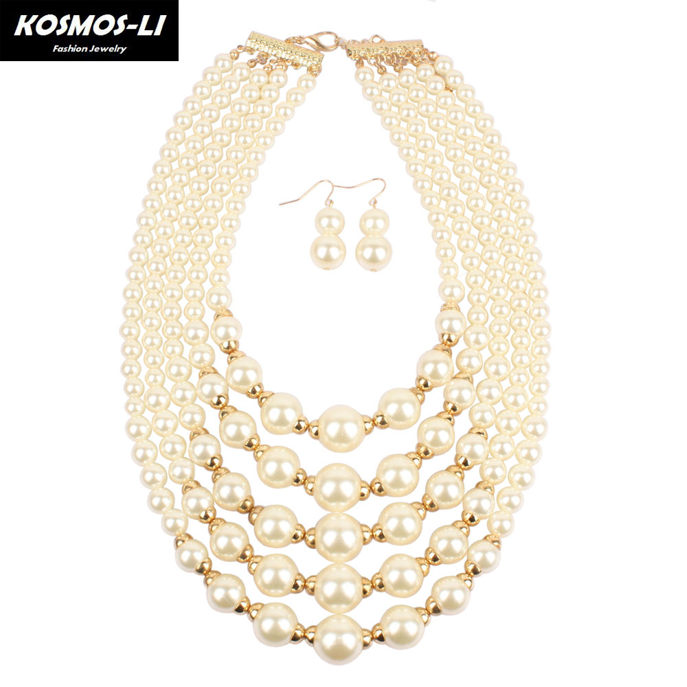 Pearl Necklace multilayer statement new fashion Bead popular women boho strand necklace bohemian party jewelry 3110 a suit of retro faux gem multilayer bead necklace and earrings for women