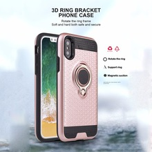 Фотография High quality back cover for iphone X case texture dual layer armor shell 3D finger ring holder grip magnetic metal plate bumper