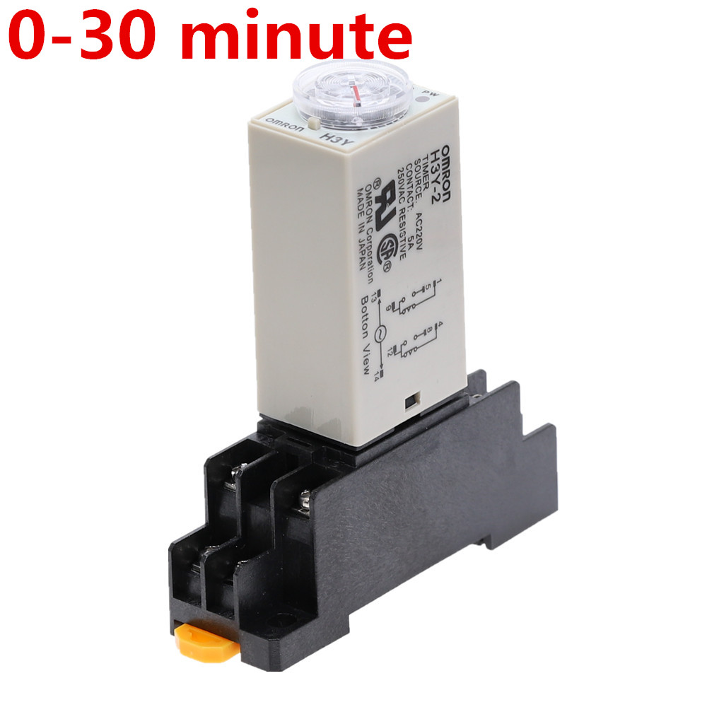 H3Y-2 AC 220V Delay Timer Time Relay 0 - 30 Minute With Base