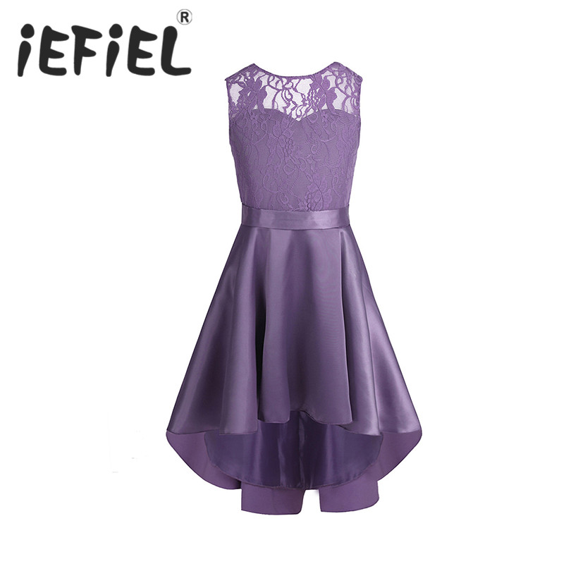 iEFiEL sleeveless Girls children Flower lace Tulle princess Dresses for Bridal wedding Prom Party Formal Occasion Teenage Dress(China)