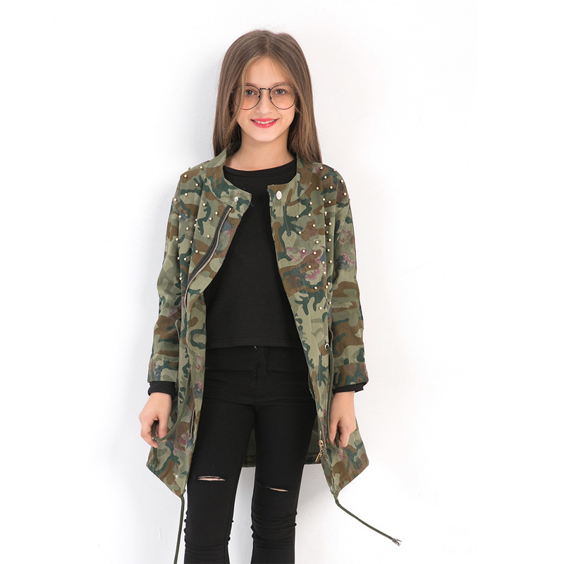 Куртки для девочек, осенне зимняя одежда для девочек 12 лет, камуфляжный длинный плащ с заклепками для девочек подростков 8, 9, 10, 11, 12, 13 лет
