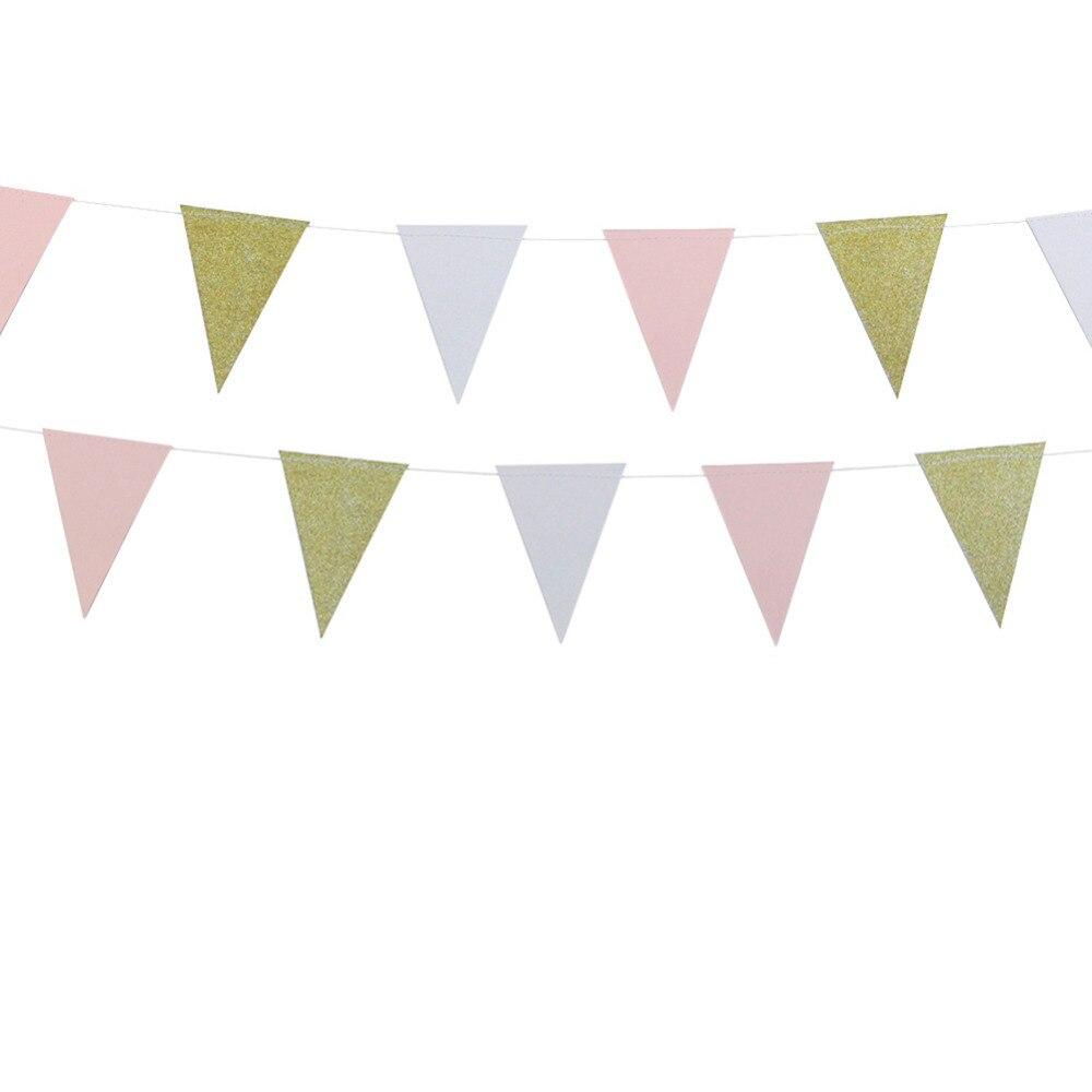 10ft блеск золота розовый и белый Бумага овсянка баннер вымпел флаги для душа ребенка душ Свадебные первый День рождения