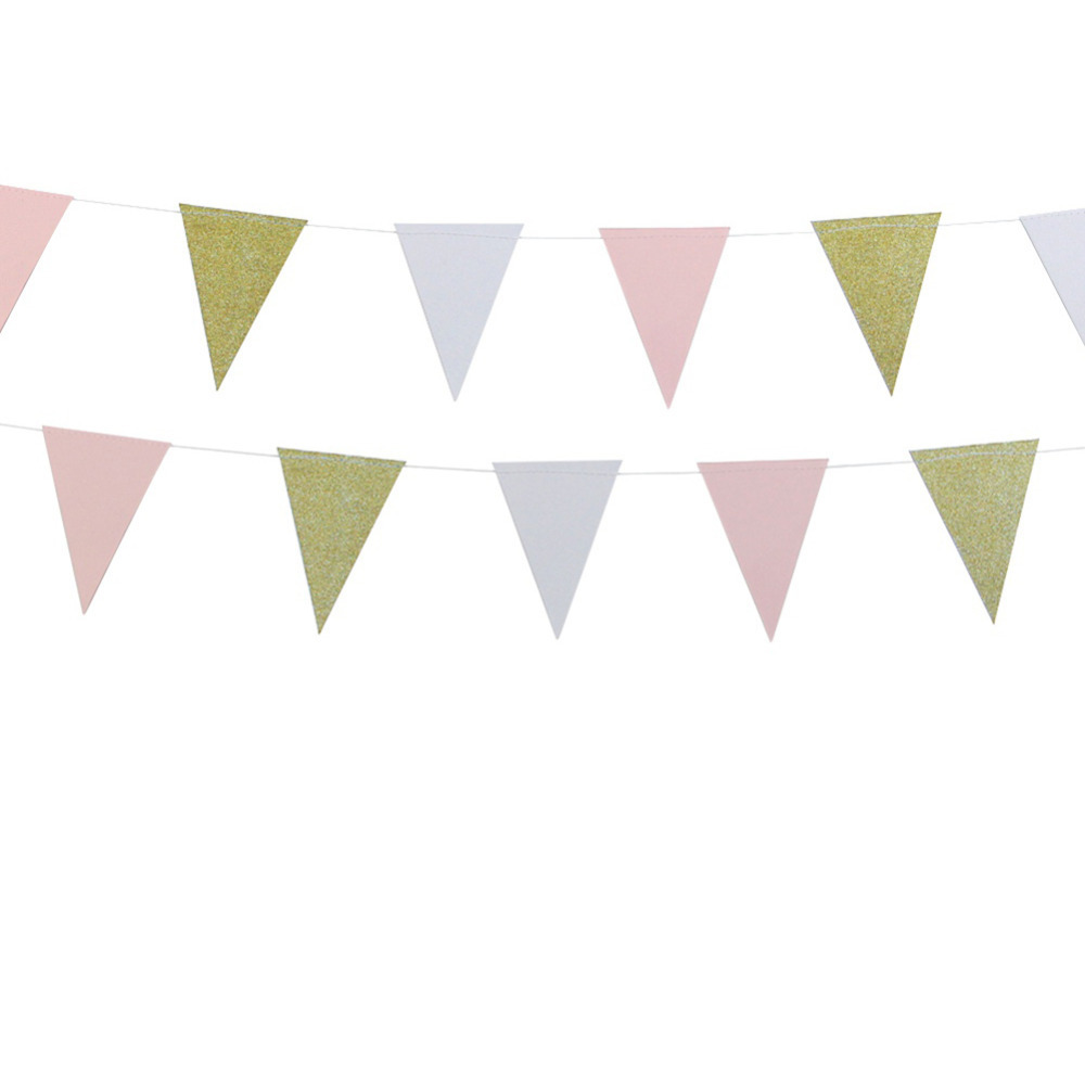 10ft Glitter Gold Pink and White Paper Bunting Banner Pennant Flags for Baby Shower Brid ...