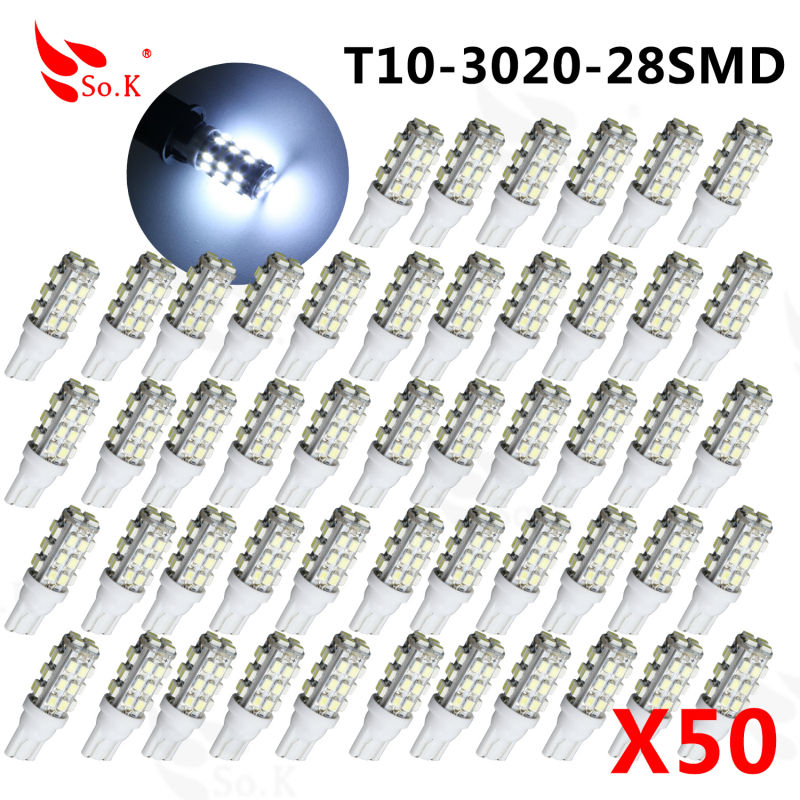 50pcs T10 28LED SMD Car Bulb Car Auto LED T10 smd 194 W5W 3020 smd Wedge Light Bulb Lamp t10 28SMD White light car light source 10pcs t10 led bulb 5 smd 5050 led t10 w5w 194 168 car light source lamp t10 5 led dash indicator signal side wedge tail light