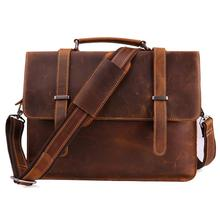On Sale men's briefcase genuine leather business handbag laptop casual large shoulder bag vintage messenger bags luxury bolsas недорого