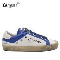 CANGMA Original 100 Genuine Leather Handmade Luxury Men Shoes White And Blue Korean Style Minimalist Shoes