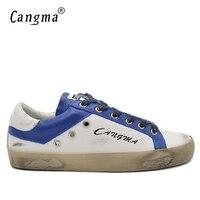 CANGMA Original 100 Genuine Leather Handmade Luxury Men Shoes White And Blue Korean Style Minimalist Shoes