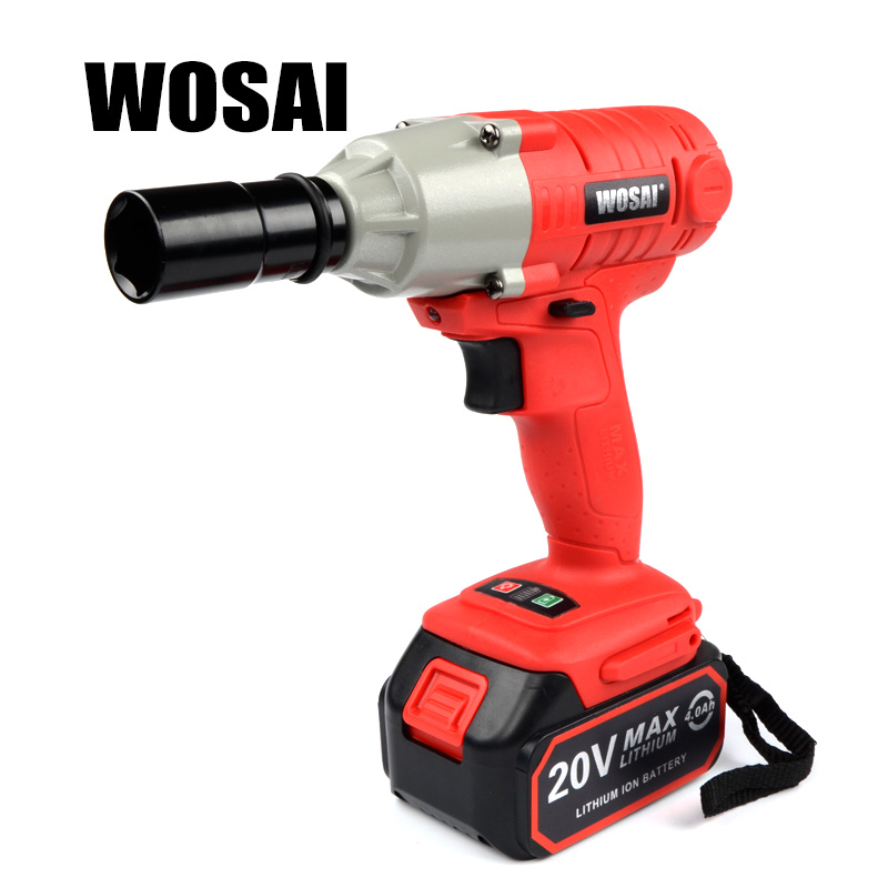 WOSAI 20V Lithium Battery Max Torque 300N.m 4.0Ah Cordless Electrical Impact Wrench Cordless Drill 1 2 li ion 58v 4 8ah 2800r min lithium battery socket wrench electric impact wrench car tyre wheel cordless wrench drill