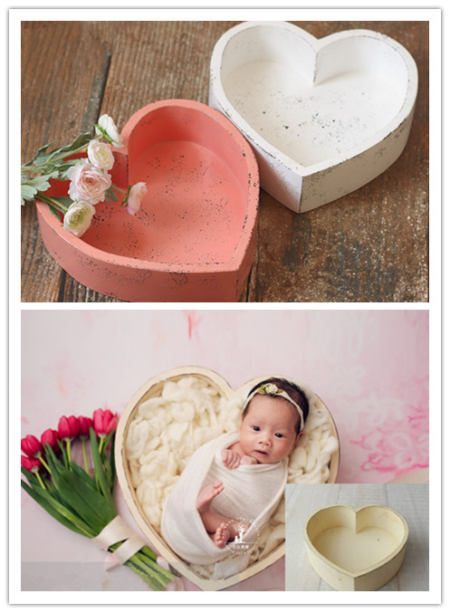 Newborn photography props 100 days baby dream love wooden basin container creative baby photography container children