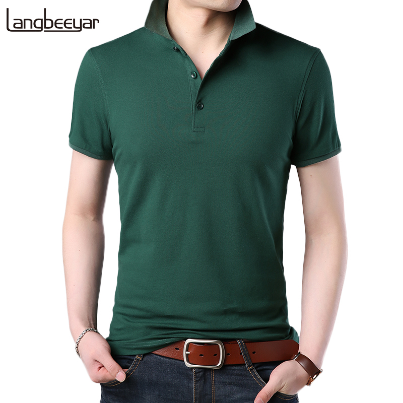 2019 New Fashion Mens   POLO   Summer Top Solid Color Slim Fit Short Sleeve Boys   Polo   Breathable Summer Top Casual Men Clothes