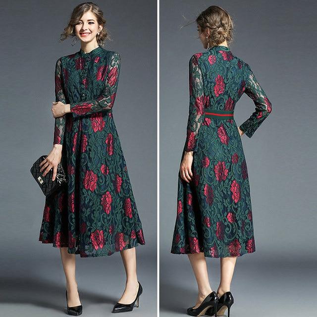 Vestido de encaje floral manga larga vintage 3