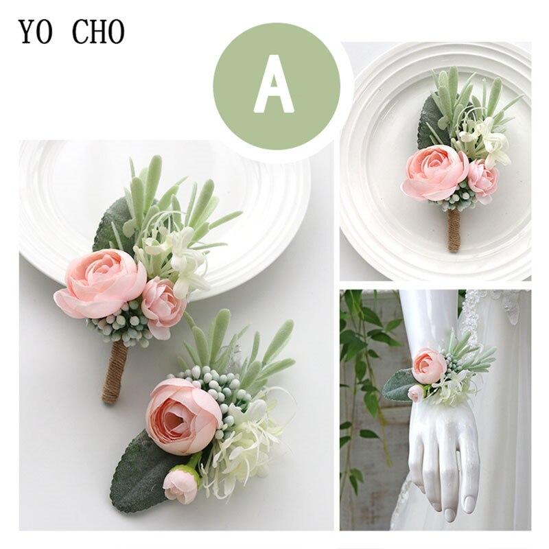 YO CHO Wedding Planner Boutonniere White Wrist Corsage Bracelet Bridal Flower Wedding Boutonniere for Guests Mariage Accessories 2