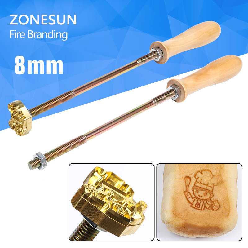 Custom design brass branding stamp personality production bread embossed Cake logo with Handle for Burning Mold Stamp on Cake