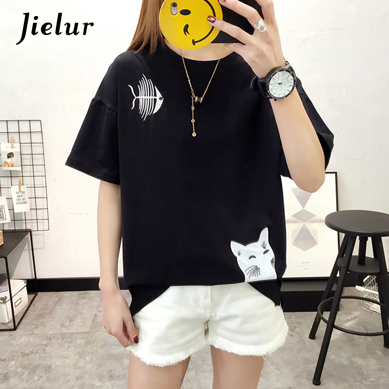 Jielur Chic Loose Fish Cat Embroidery T Shirt Summer 2018 Simple Korean Style Female T-shirts M-XXL White Black T shirt Women
