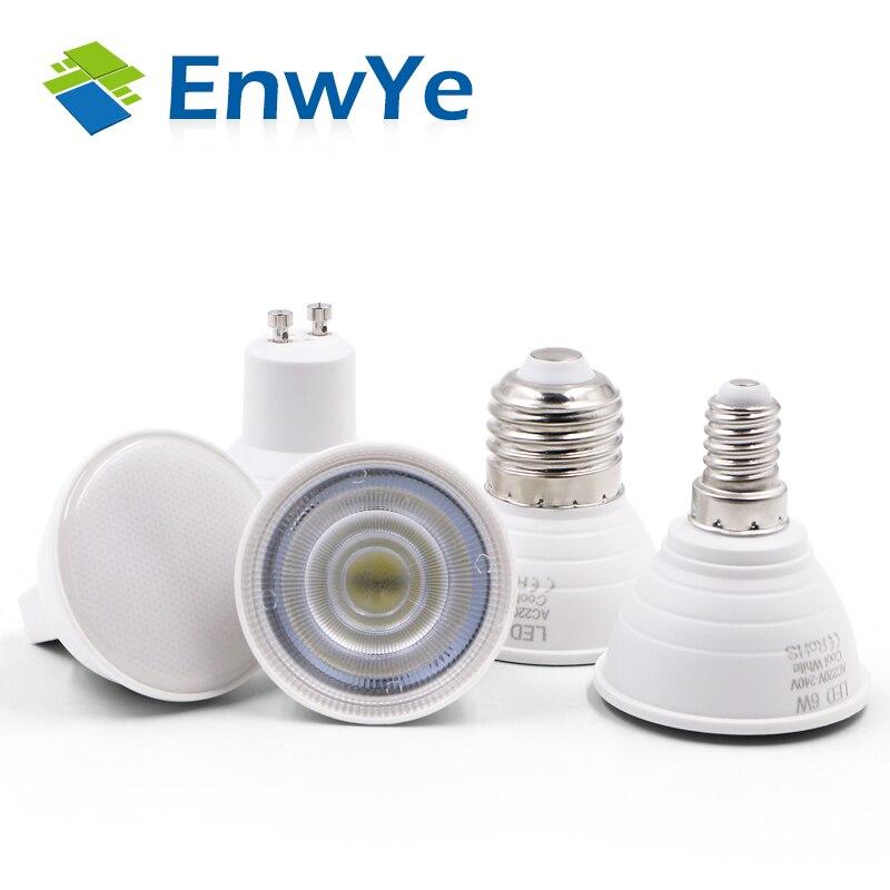 EnwYe מנורת LED GU10 MR16 E14 E27 נורת LED 6 W 220 V Lampada זרקור מנורת LED הקבל דיפוזיה בית חיסכון באנרגיה תאורה