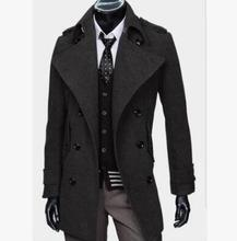 Black double breasted casual woolen coat men trench coats overcoat mens cashmere coat casaco masculino inverno erkek england