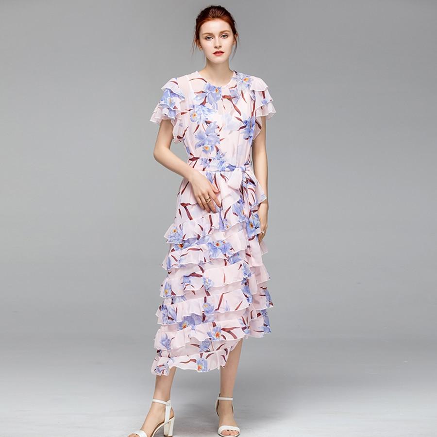 VERDEJULIAY bohème femmes imprimé robe 2019 été luxe piste fleur papillon manches volants en cascade irrégulière robe