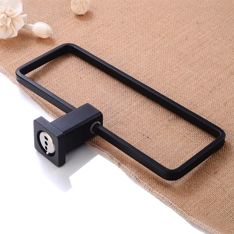 Towel Ring Holder Aluminum Single Towel Bar Holder Wall Mounted Bathroom Shelf Black Towel Rail Hanger Square Bath Hardware