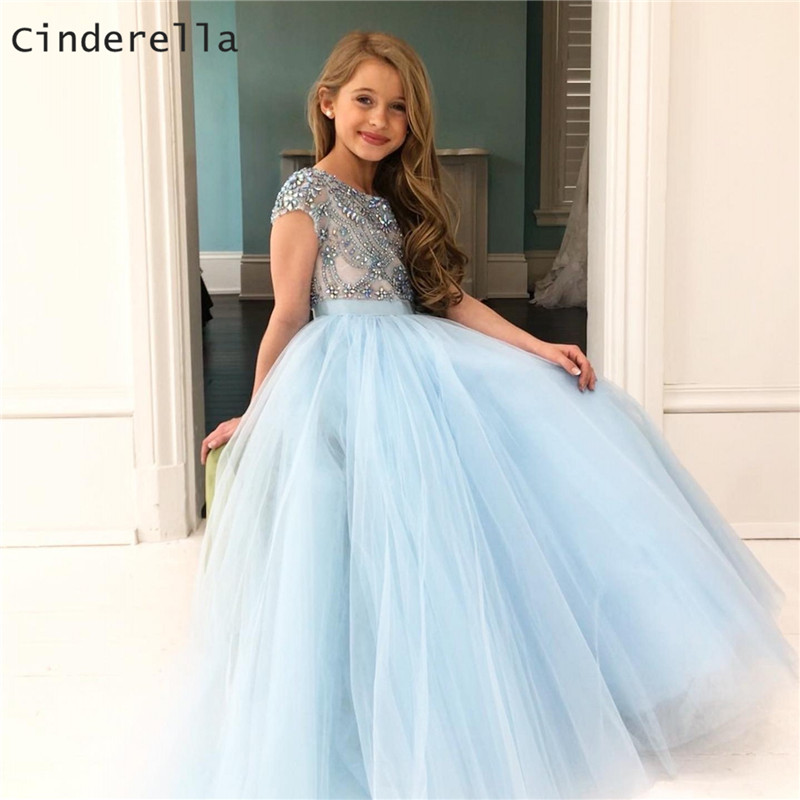 Cinderella Luxury Crytal Beading Scoop Cap Sleeves Soft Tulle   Flower     Girls     Dresses   Zipper Back Crystal Little   Girl   Party Gown