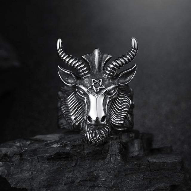 Aries Zodiac Goat Head Ring