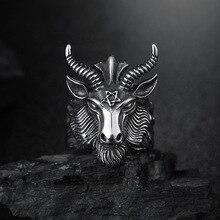 Anillo de cabeza de cuerno de cabra oveja grande a la moda culto a Satán Baphomet Aries Zodiac Wicca estrella para hombres Biker único Punk Animal joyería