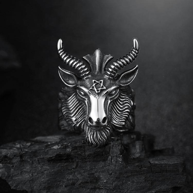 Fashion Big Sheep Goat Horn Head Ring Satan Worship Baphomet Aries Zodiac Wicca Star For Men Unique Biker Punk Animal Jewelry