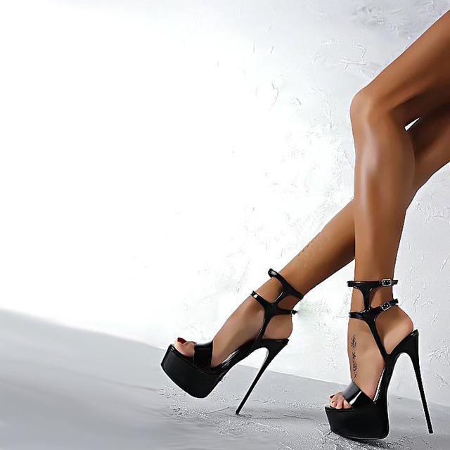 b87df8e32f6e60 Size 34-46 Pu Leather High Heels Sandals 16cm Stripper Shoes Summer Wedding  Party Shoes Women Gladiator Platform Sandals