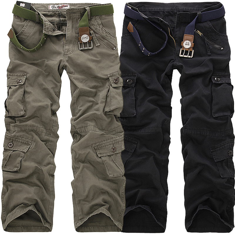 2019 High Quality Men's Cargo Pants Casual Loose Multi Pocket Military Pants Long Trousers for Men Camo Joggers Plus Size 28-40(China)