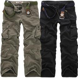2019 Высокое качество Мужские Брюки Карго повседневные свободного покроя с большим количеством карманов военные брюки длинные брюки для
