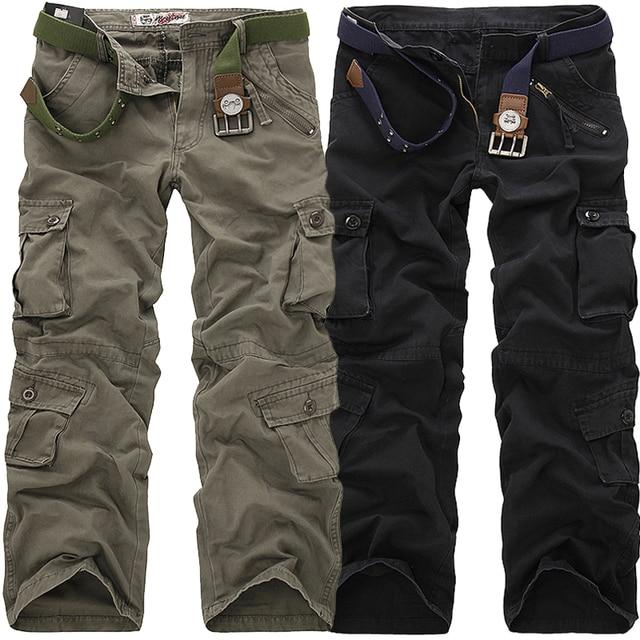 2019 de Alta Qualidade calças da Carga Dos Homens Calças Compridas Calças Casuais Calças Soltas de Multi Bolso Militares para Homens Camo Corredores Bonés tamanho 28-40