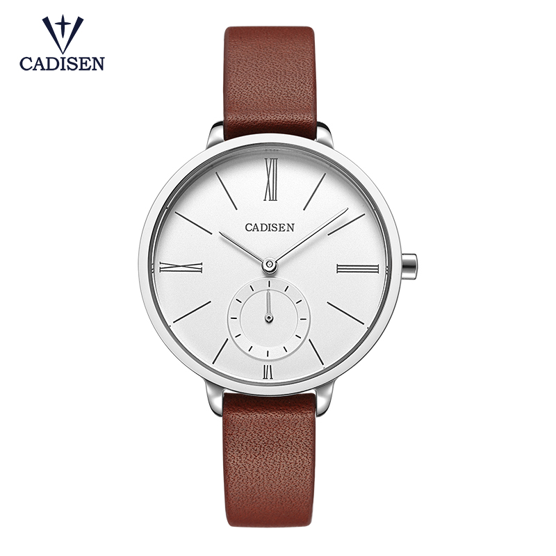 cadisen Genuine Leather Women Watches Luxury Brand Quartz Watch Casual Ladies Watches Women Clock Montre Femme Relogio feminino sinobi ceramic watch women watches luxury women s watches week date ladies watch clock montre femme relogio feminino reloj mujer