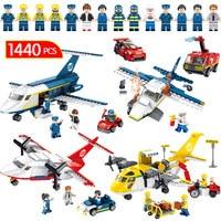 1440PCS New Technic Fire Police Car Set Blocks Compatible LegoINGLYS City Jet Plane Toys Airport Brigade Bricks For Children
