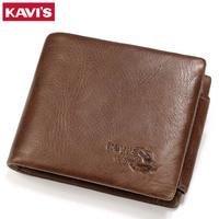 KAVIS Trifold Card Holder Genuine Cow Leather Wallet Men Male Coin Purse Portomonee PORTFOLIO Bag Perse