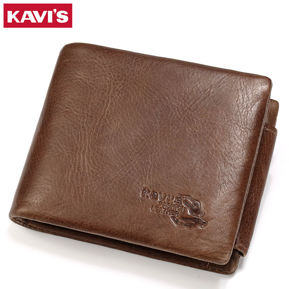 KAVIS Trifold Card Holder Genuine Cow Leather Wallet Men Male Coin Purse Portomonee PORTFOLIO Bag Perse Hasp Photo Vallet Coffee genuine leather mens wallet black hasp men purse with zipper coin pocket portfolio male short card holder vertical men wallets
