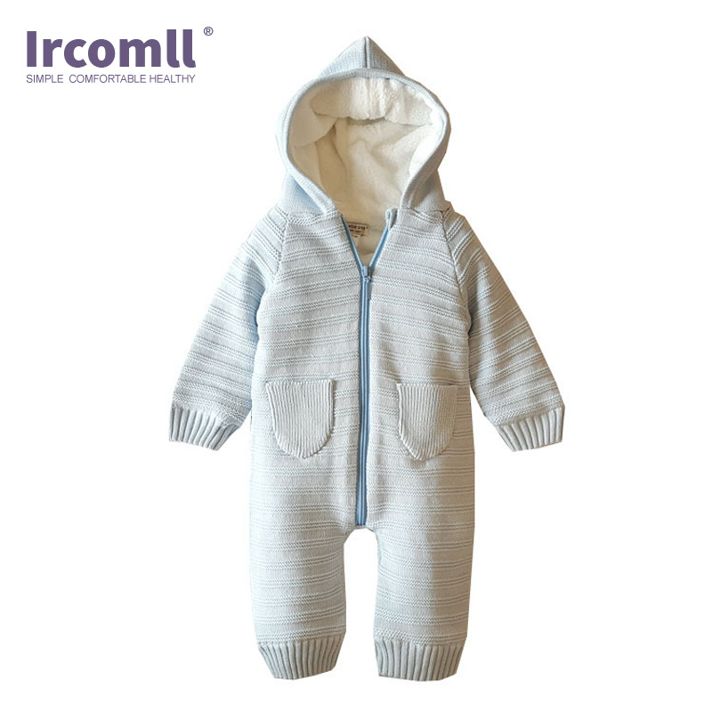 Ircomll 2018 Newest New born Baby Clothes Hooded Full Knitted Boys Girls Toddler Romper Baby Jumpsuit Kids Clothes ropa bebe