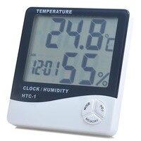 LCD Digital termometro innen sala al aire libre electronico medidor de humedad de temperatura higrómetro con reloj despertado