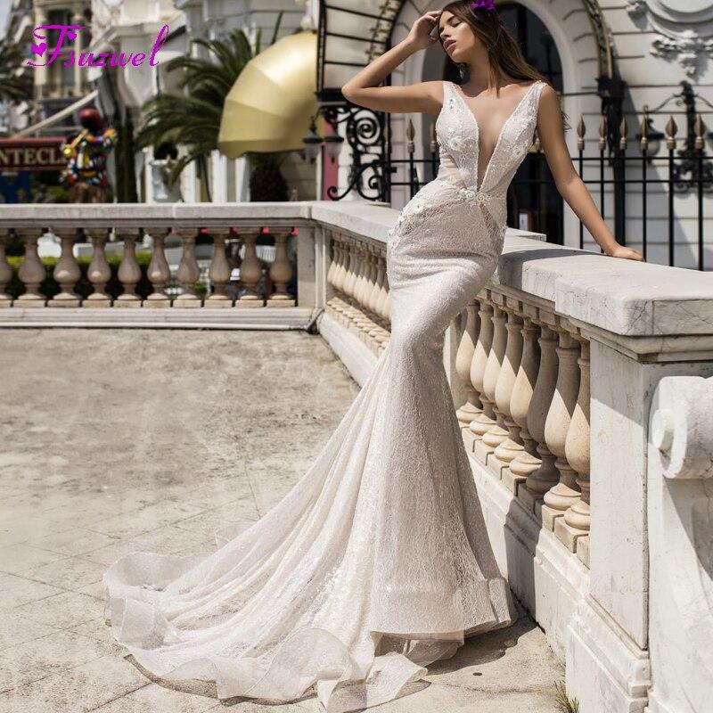 Trumpet Wedding Dresses 2019: Fsuzwel Sexy Scoop Neck Appliques Lace Mermaid Wedding