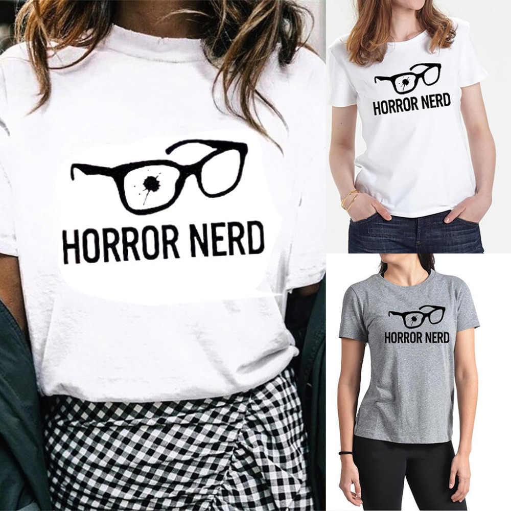 Микки Маус Для женщин ужас NERD Для женщин принт короткий рукав Футболка среднего письма плюс очки принтом Oversize-футболка