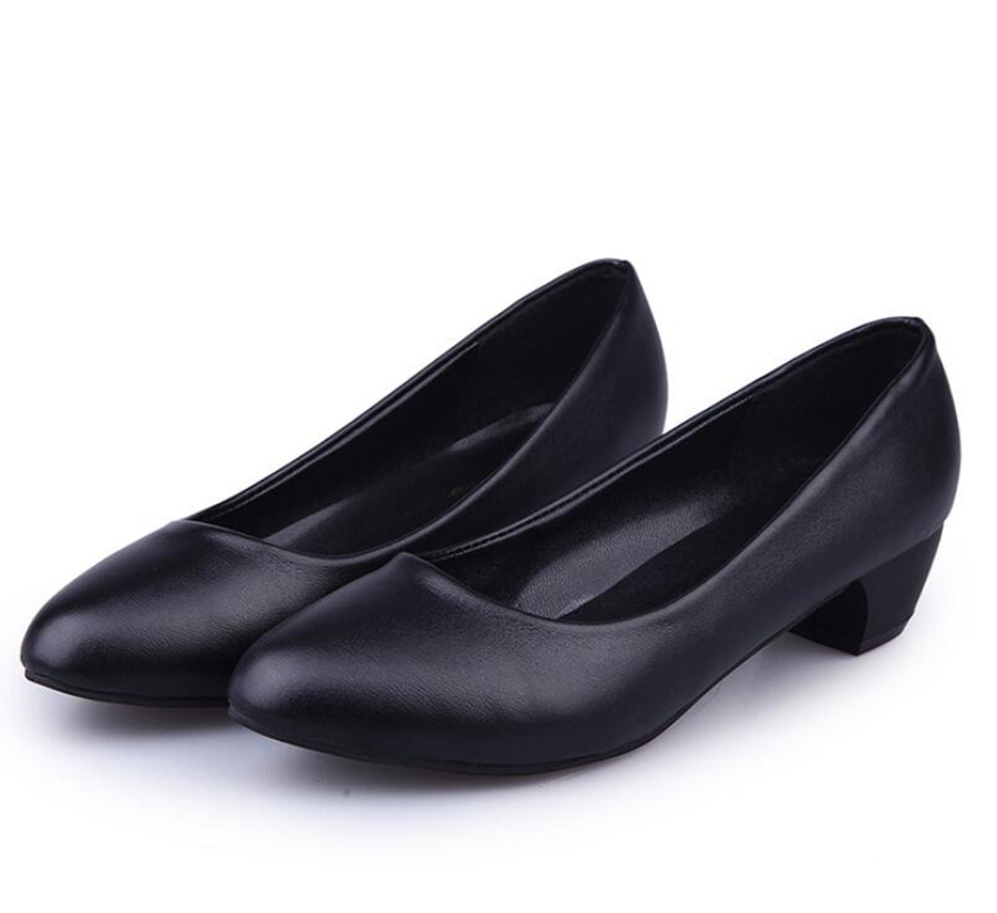 La Tacón Cuero Mujer Gran Negro Baja Nuevo Black1 Trabajo Profesional Cabeza Ronda Alta Zapatos Boca De Tamaño Grueso black2 Solo aEXawqp